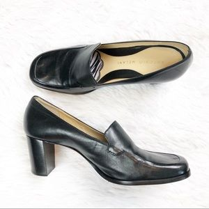 Antonio Melani Black Leather Block Heel Loafer